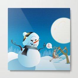 """Angry Snowman and Santa's Reindeer saying """"Oh my deer!"""" Metal Print"""
