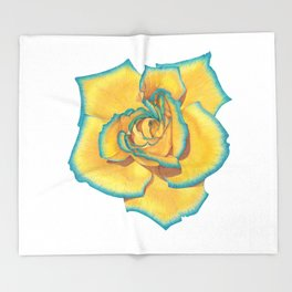 Yellow and Turquoise Rose Throw Blanket