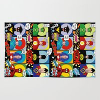 superheroes Area & Throw Rugs featuring Superheroes by Chicca Besso