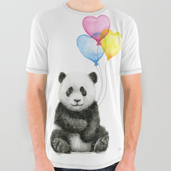 Panda Baby With Heart Shaped Balloons Whimsical Animals Nursery Decor All Over Graphic Tee