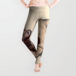 """Egon Schiele """"Kneeling Girl, Resting on Both Elbows"""" Leggings"""
