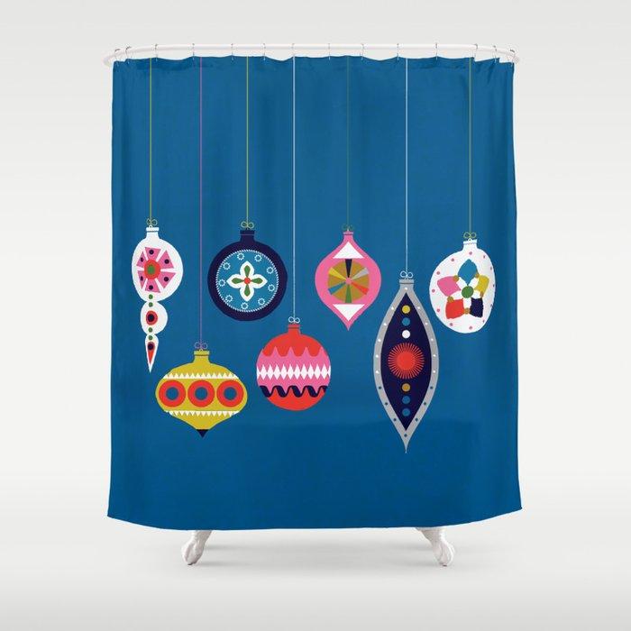 Retro Christmas Baubles on a dark background Shower Curtain