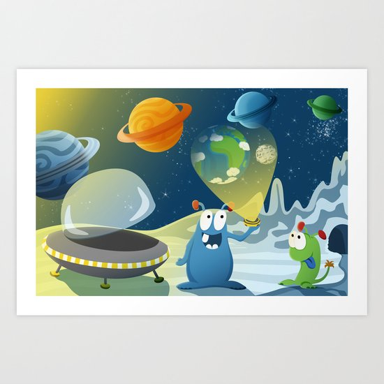 Departure for Earth - Space series 1 Art Print
