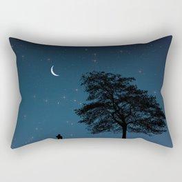 Moonlight Contemplation Rectangular Pillow