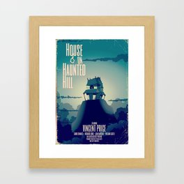 House on haunted hill vintage cartoon movie poster Framed Art Print