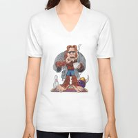 bigfoot V-neck T-shirts featuring Bigfoot Lebowski by Eli Wolff