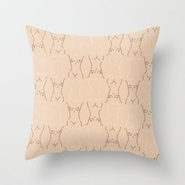 Nude, nudes line drawing/ pattern of female body Throw Pillow