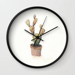 Brownish Green Cactus Wall Clock