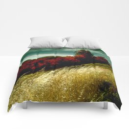 Golden Wheat By Red Pines With Green Sky Comforters