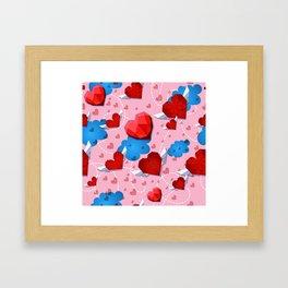 Hearts pattern for textile or wallpaper Framed Art Print