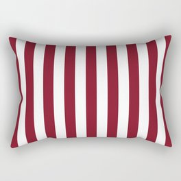 Deep Dark Red Pear and White Beach Hut Stripe Rectangular Pillow