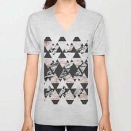 Modern Black White Rose Gold Marble Geo Triangles Unisex V-Neck