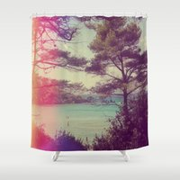 french Shower Curtains featuring French Beach by Emma.B
