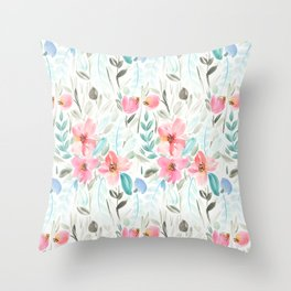 Garden Watercolour Floral Throw Pillow