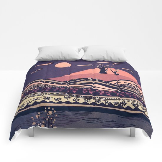 Psychedelic mountains (colour option) Comforters