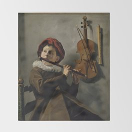 """Judith Leyster """"Boy playing the Flute"""" Throw Blanket"""