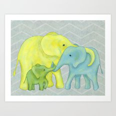 Elephant Family of Three Art Print