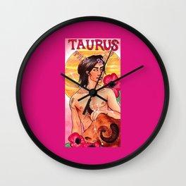 Taurus - Art Nouveau Zodiac Wall Clock