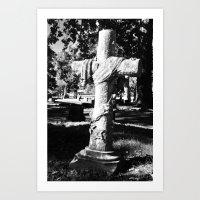 Noir Cross Halloween Graveyard Art Print