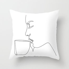 """Profile Collection"" - Woman Drinking Coffee Throw Pillow"