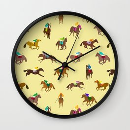 To The Horse Races (Yellow) Wall Clock