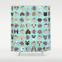 Dogs and cats pet friendly floral animal lover gifts dog breeds cat ladies Shower Curtain