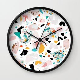 Mixed Mess I. / Collage, Terrazzo, Colorful Wall Clock