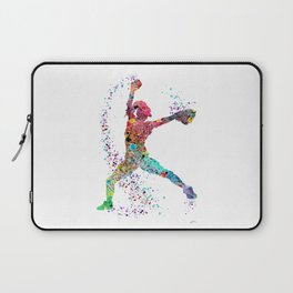 Baseball Softball Pitcher Watercolor Print Art Print Girl's Softball Painting Laptop Sleeve