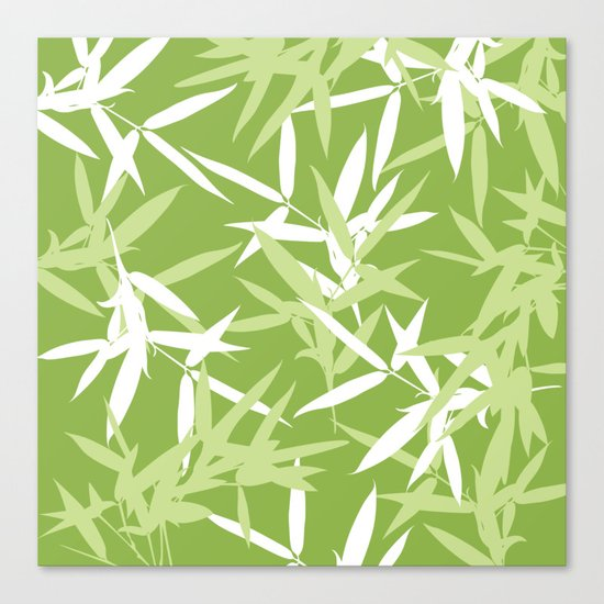 Green Bamboo Leaves Unique Pattern Canvas Print