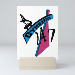 247 Gymnastics Horse pinkblue Mini Art Print