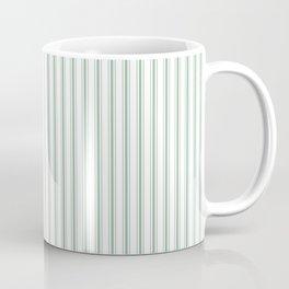 Mattress Ticking Narrow Striped Pattern in Moss Green and White Coffee Mug