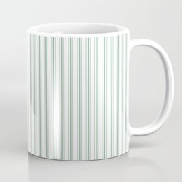 Mattress Ticking Narrow Striped Pattern in Moss Green and White Coffee Mug