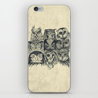 band iPhone & iPod Skins featuring Nine Owls by Rachel Caldwell