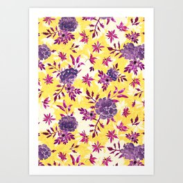 Marigolds and Borage Flowers Purple and Yellow Floral Pattern Art Print