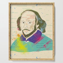 Portrait of William Shakespeare-Hand drawn Serving Tray