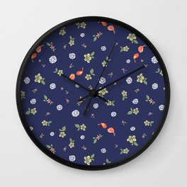 Floral with Birds on blue Wall Clock