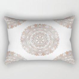 Rose Gold White Floral Mandala Rectangular Pillow