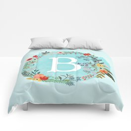 Personalized Monogram Initial Letter B Blue Watercolor Flower Wreath Artwork Comforters