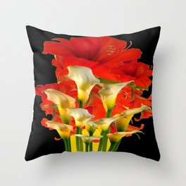 RED FLORALS & YELLOW CALLA LILIES BLACK ART Throw Pillow