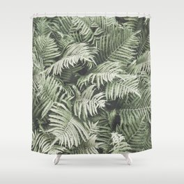 Fern Pattern Dull Green Print Shower Curtain