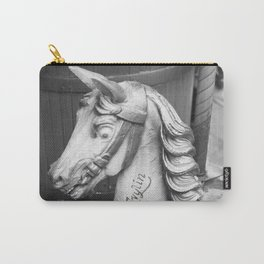 Nostalgic old carousel horse - black & white Photography Carry-All Pouch