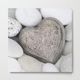 Stone Heart and pebble greige tones Metal Print