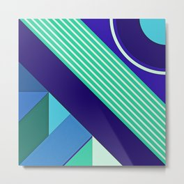 Modern Vibrant Geometric Pattern #9 Stripes Bars and Arcs Metal Print