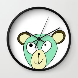 Hand drawn funny face of an animal bear Wall Clock