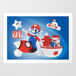 Skull Mario Space Jumper Art Print