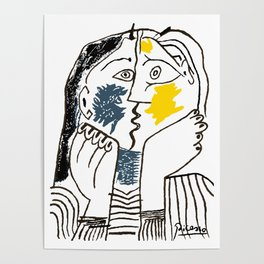 Pablo Picasso Kiss 1979 Artwork Reproduction For TShirts, Framed Prints Poster