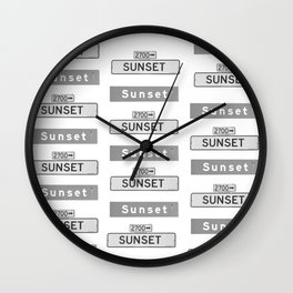 Sunset Signs black and white Wall Clock