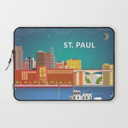 St. Paul, Minnesota - Skyline Illustration by Loose Petals Laptop Sleeve