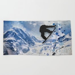 Snowboarder In Flight Beach Towel