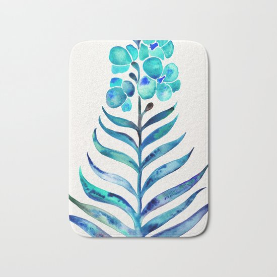 Blooming Orchid – Navy & Turquoise Palette Bath Mat